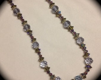 Purple crystal beaded necklace