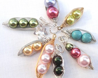 Peapod Pendant Only -  1 , 2  Or 3 Peas In A Pod Choose Your Color And Metal