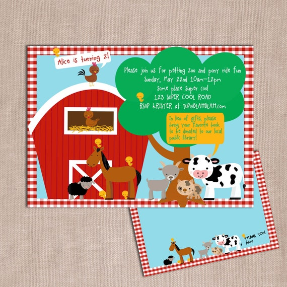 Items Similar To Petting Zoo Farm Birthday Invitation And