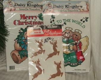 Vintage Christmas supplies iron on transfers felt deer iron on transfer teddy bear iron on transfer New old stock vintage iron on transfer