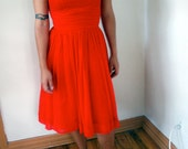 50s party dress cherry red sheath chiffon S M