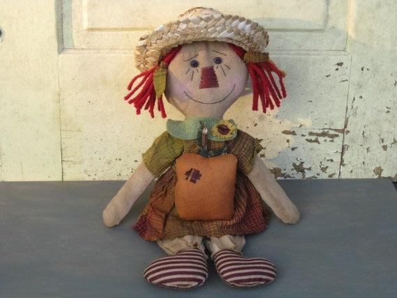 Primitive Fall Raggedy Ann Doll - Fabric - with Pumpkin - Cupboard Tuck