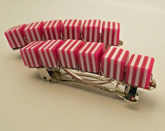 Retro Stripe Barrettes, Berry, 1 pair, rockabilly, pin up, pink hair clips, retro cube barrettes, hair accessories for girls - reynared