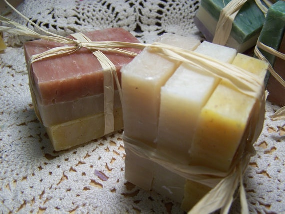 Travel size soaps - trial size soaps - 3 mini soap bars - shea butter- organic-