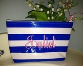 Small Blue Cabana Stripe Oilcloth Personalized Cosmetic Bag / Monogrammed Makeup Pouch / Makeup Bag / Wet Bag with Pink Name Monogram