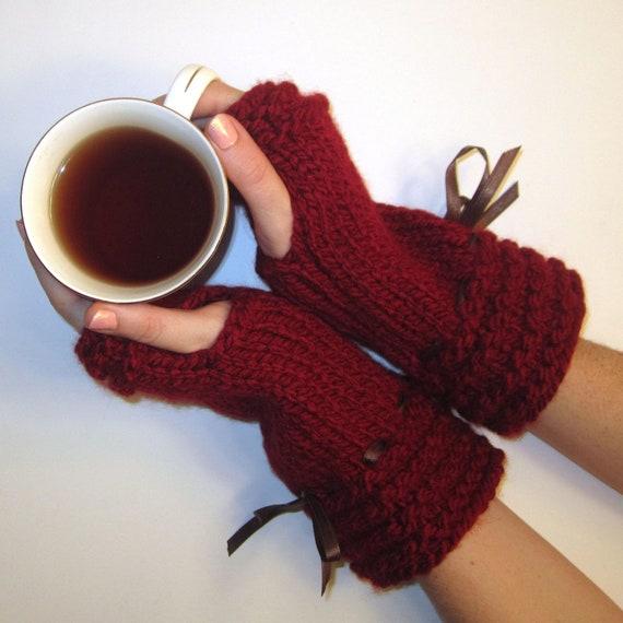 Knit Fingerless Gloves Red Brown Ribbon