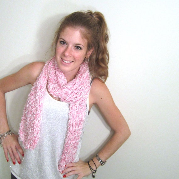 Knit Scarf Pink White Long Lace