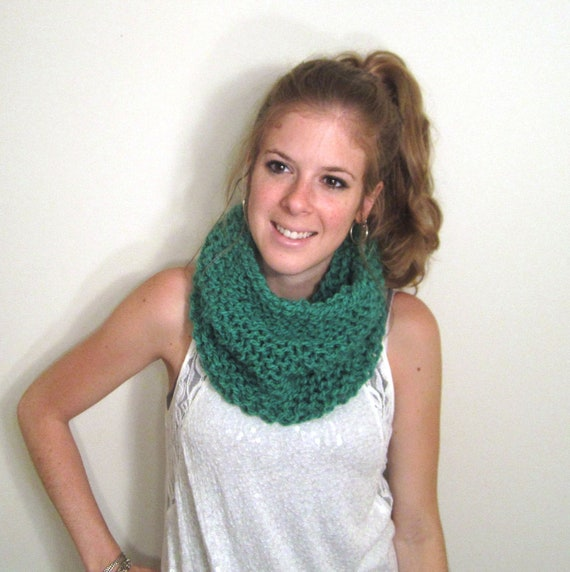 Chunky Green Cowl Scarf Knit - The Clements Cowl