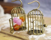 1 pc Three D bird cage pendant-wired and soldered