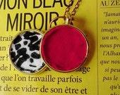 "24"", Chic, Bright, Blood Red, Chiffon, Black & White, Inkblot, Cotton Jersey, Brass, Handmade, Necklace..."