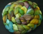 Roving Maco Merino, 19 micron, hand painted spinning and felting fiber top, 4.4 oz