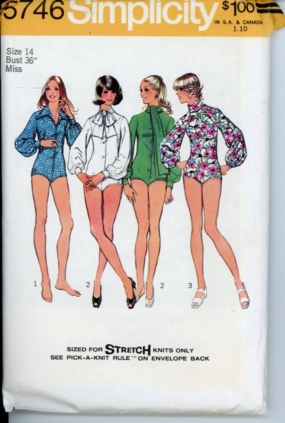 Simplicity 5746 1970s Misses Bodysuits Pattern Long Sleeves Front Button Neckline Variations Womens Vintage Sewing Pattern Bust 36 UNCUT
