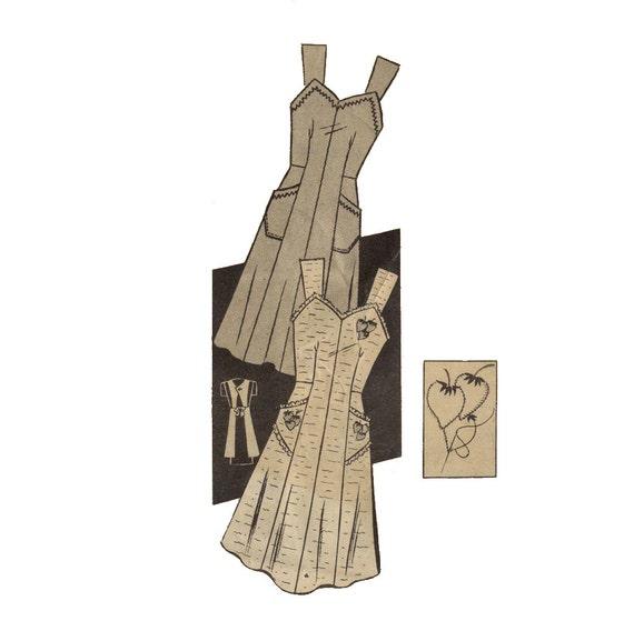 1940s Apron Pattern Anne Adams 4265 Misses Sweetheart Neckline Kitchen Apron Bust 36 - 38 Womens Vintage Mail Order Sewing Pattern UNCUT