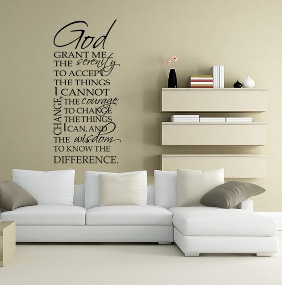 Serenity Prayer  Wall Decal Vinyl Typography God Grant Me the Serenity