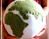SALE - Planet Earth - Earth Tone - Plush Globe Toy, Photo Prop, Educational, Eco-Friendly