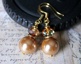 Light Gold & AB Crystals 14k gold Plated Bridal Earrings