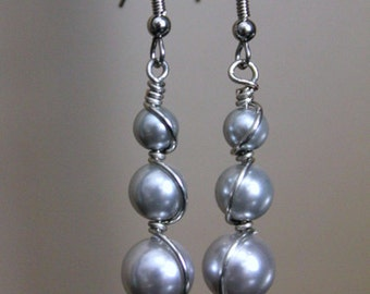 Stacked Silver Gray Pearls Silver Wire Wrapped Earrings