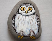 Owl portrait, hand painted rock paper weight