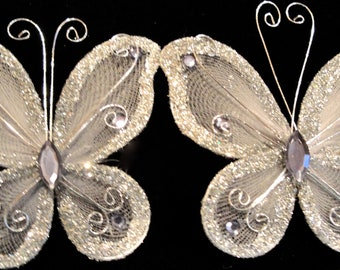 Tanday 12pcs Organza Butterfly Silver 8742