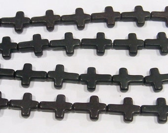 Magnesite Beads 12x16mm Black Cross Semiprecious Gemstone Bead 15''L 4971 -