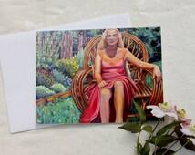 Nantosuelta, GREETING CARD - nature goddess, Goddess painting, garden painting, Celtic Goddess,
