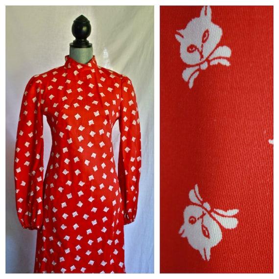 reserved. 1960s KITTY CAT print maxi dress / amazing apple red dress XS - S