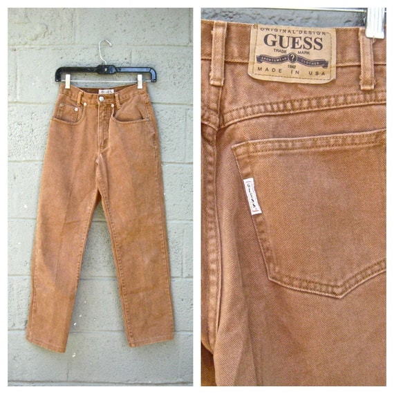 "high waist cigarette jeans 25"" / 80s camel brown Guess cropped denim S"