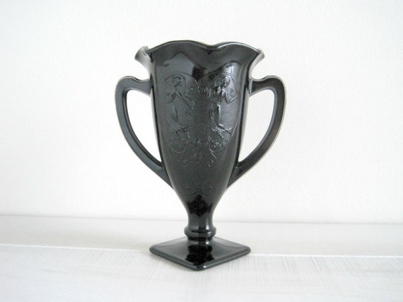Vintage Trophy Vase - Black Glass - Neoclassical Chic