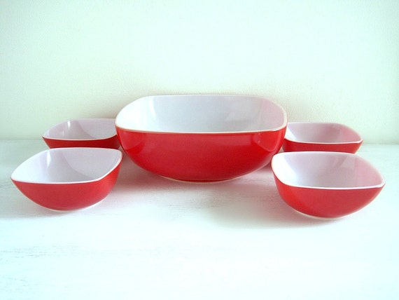 Vintage Red Pyrex Hostess Set - New in Box