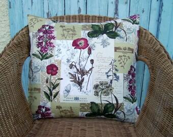 throw pillow cover - gardeners gift - garden pillow - floral pillow - gardeners pillow - decorative pillow - flower pillow