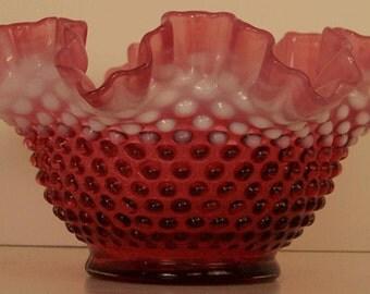 """Fenton Hobnail Cranberry Opalescent  9"""" Bowl"""