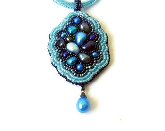 Bead embroidery pendant necklace with freshwater pearls and seed beads in turquoise, teal, sky and navy blues - Circles in the water