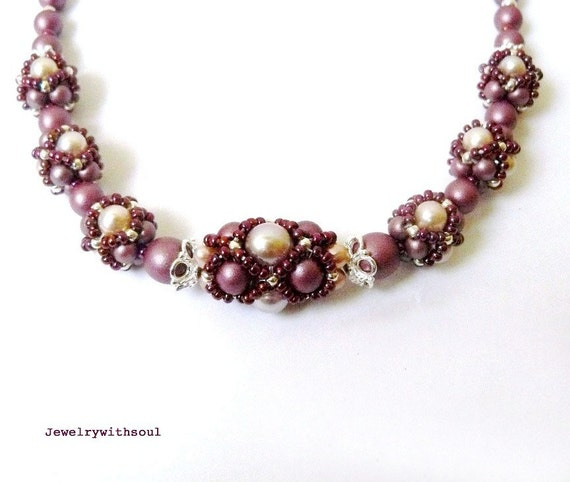 Beadwoven beaded bead necklace with netted beads in light mauve pink, rose pink and sterling silver - Satin and silk