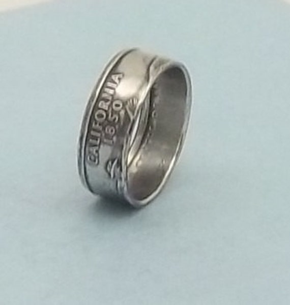 Silver coin ring  California State quarter year 2005 size 7 1/2,  90%  silver ring unique gift FREE SHIPPING
