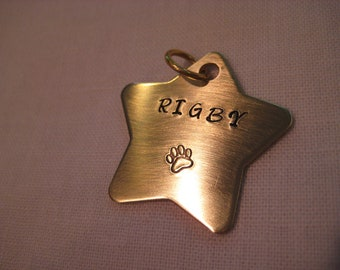 Pet Tag- Stamped Heavy Duty Brass Star