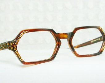 60s Glasses 1960's Tortoise Eyeglasses Amber Rhinestone Horn Rim Gold Spider Web Hexagon NOS 52/20 Marine Optical Frame Italy