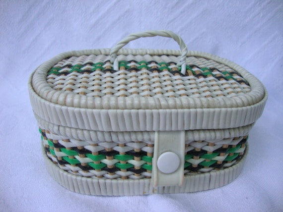 Mini Wicker / Woven Plastic Sewing Box