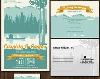 Mountain Wedding Invitation Suite - Outdoor Wedding - Blue and Gold - SAMPLE PACK