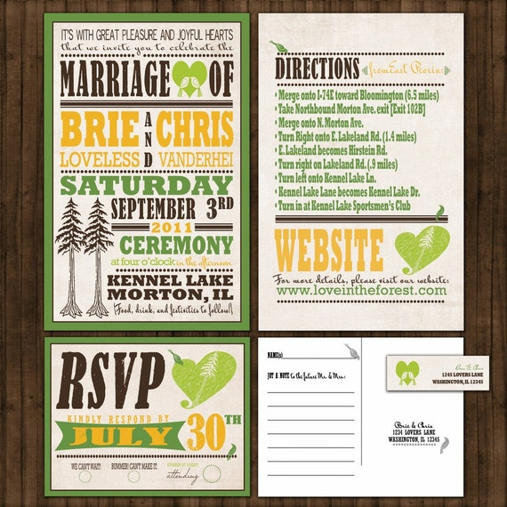 Custom Wedding Invitations - Vintage Pine Tree Poster Custom Wedding Invitation Suite with RSVP postcards and address labels