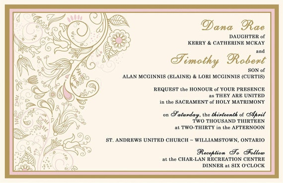 Custom Listing for timmcginnis - Romantic Pink and Gold Wedding Invitations