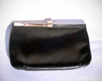 Vintage Black Leather 80s Cluch