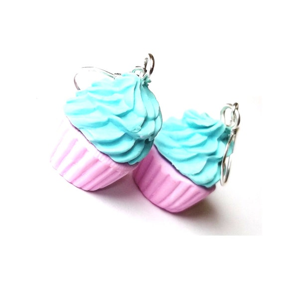 Cupcake Earrings Sweet Polymer Clay ( pink cupcakes blue cupcakes cupcake jewelry food earrings kawaii miniature food sweet gift for her )
