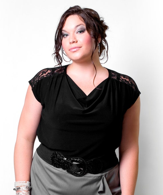 Plus Size Black top w/ lace inset / lace yoke and cowl neck - Plus size clothing made to your size: xl- 1x - 2x - 3x