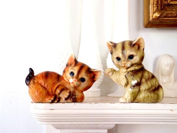 Playful Kittens Antique Ceramic Cat Statue Set
