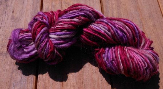 Handspun Yarn, CranGrape, Bulky Yarn, Wool Yarn, 84 yards