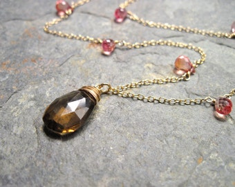 Whiskey Quartz and Pink Quartz Necklace, Handmade Gemstone Necklace in 14K Gold Fill