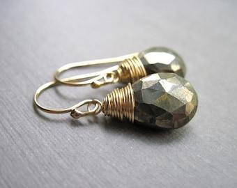 Pyrite Gemstone Earrings in 14K Gold Fill, Handmade Gold Gemstone Earrings, Fools Gold Wire Wrapped Earrings