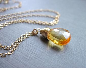 Citrine Necklace, November Birthstone Necklace in 14K Gold Fill, Yellow Gemstone Necklace, Honey Drop Wire Wrapped Necklace