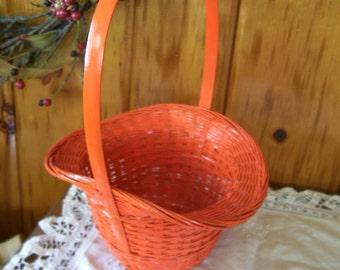 Orange Wicker Basket Vintage Halloween Decor