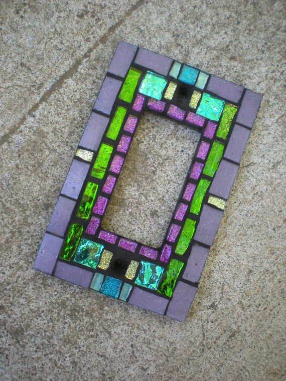 Mosaic Rocker Light Switch Cover - Lavender, Purple, Green, and Teal- Glass Decora Switchplate